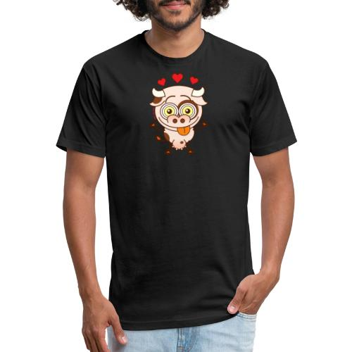 Cute cow falling madly in love Long Sleeve Shirts - Fitted Cotton/Poly T-Shirt by Next Level