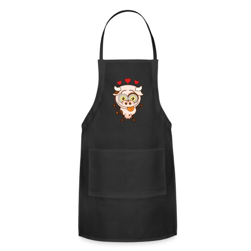 Cute cow falling madly in love Long Sleeve Shirts - Adjustable Apron