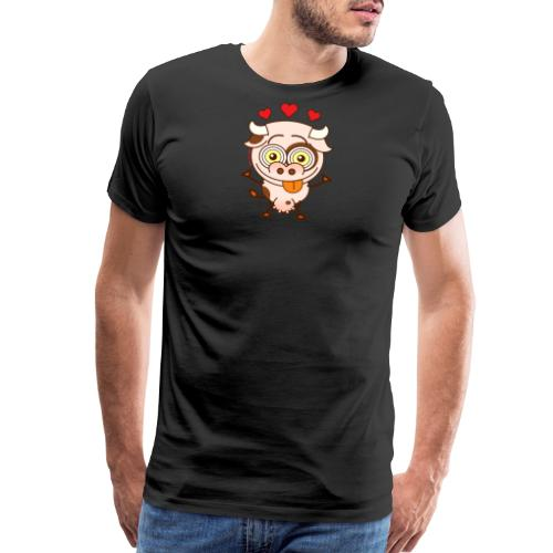 Cute cow falling madly in love Long Sleeve Shirts - Men's Premium T-Shirt