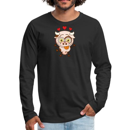 Cute cow falling madly in love Long Sleeve Shirts - Men's Premium Long Sleeve T-Shirt