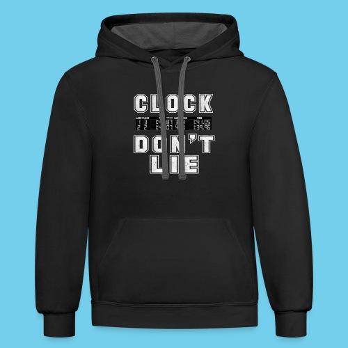 Clock don't lie- Men's Ringneck Tee - Contrast Hoodie