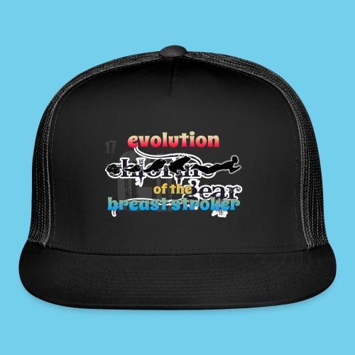 Evolution of the BreastStroker- Men's Tee- Front Design, Rear Mini Logo - Trucker Cap