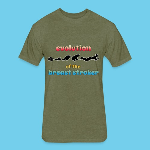Evolution of the BreastStroker- Men's Tee- Front Design, Rear Mini Logo - Fitted Cotton/Poly T-Shirt by Next Level