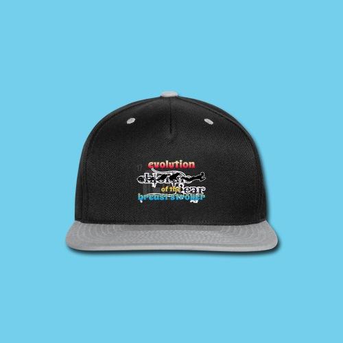 Evolution of the BreastStroker- Men's Tee- Front Design, Rear Mini Logo - Snap-back Baseball Cap