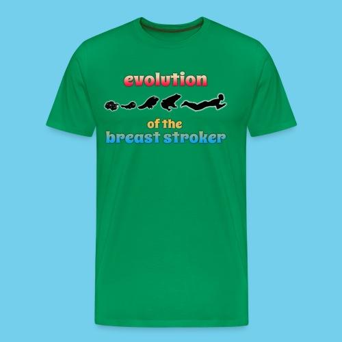 Evolution of the BreastStroker- Men's Tee- Front Design, Rear Mini Logo - Men's Premium T-Shirt