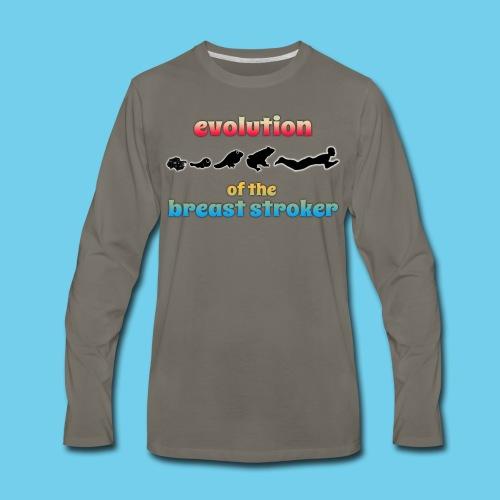 Evolution of the BreastStroker- Men's Tee- Front Design, Rear Mini Logo - Men's Premium Long Sleeve T-Shirt