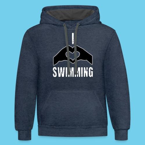 I HEART Swimming- Women's Tee- Front Design, Rear Mini logo - Contrast Hoodie