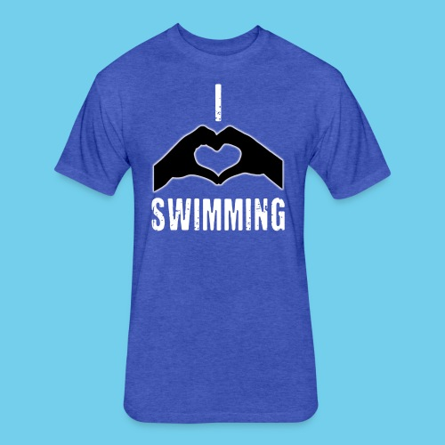 I HEART Swimming- Women's Tee- Front Design, Rear Mini logo - Fitted Cotton/Poly T-Shirt by Next Level