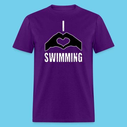 I HEART Swimming- Women's Tee- Front Design, Rear Mini logo - Men's T-Shirt