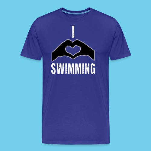 I HEART Swimming- Women's Tee- Front Design, Rear Mini logo - Men's Premium T-Shirt