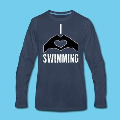 I HEART Swimming- Women's Tee- Front Design, Rear Mini logo - Men's Premium Long Sleeve T-Shirt