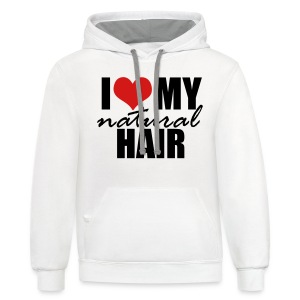 RED I Love My Natural Hair T-shirt (Curvy Girl Edition) - Contrast Hoodie