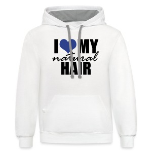 BLUE I Love My Natural Hair Women's Jersey T-shirt - Contrast Hoodie