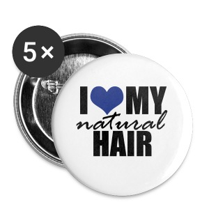 BLUE I Love My Natural Hair Women's Jersey T-shirt - Small Buttons