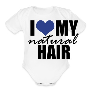 BLUE I Love My Natural Hair Women's Jersey T-shirt - Short Sleeve Baby Bodysuit