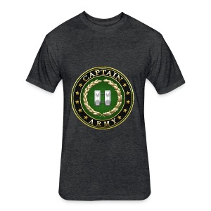 Captain (CPT) Rank Insignia 3D  - Fitted Cotton/Poly T-Shirt by Next Level