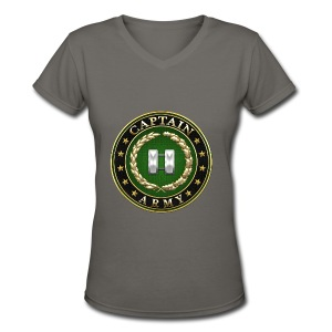 Captain (CPT) Rank Insignia 3D  - Women's V-Neck T-Shirt