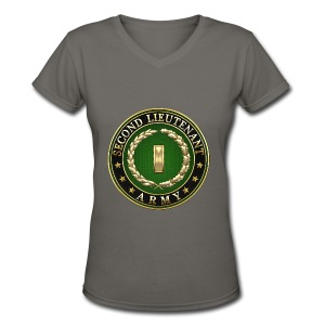 Second Lieutenant (2LT) Rank Insignia 3D  - Women's V-Neck T-Shirt
