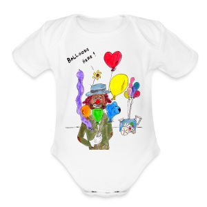 HDK Balloons Here Clown Tee - Short Sleeve Baby Bodysuit