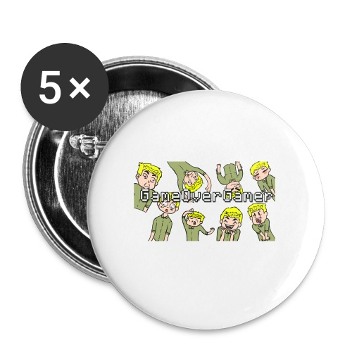 Many Faces of GameOverGamer Tee - Large Buttons