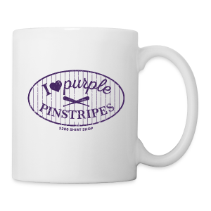 I Love Purple Pinstripes - Ladies Longer Length Fitted Tank - Coffee/Tea Mug