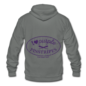 I Love Purple Pinstripes - Ladies Longer Length Fitted Tank - Unisex Fleece Zip Hoodie by American Apparel
