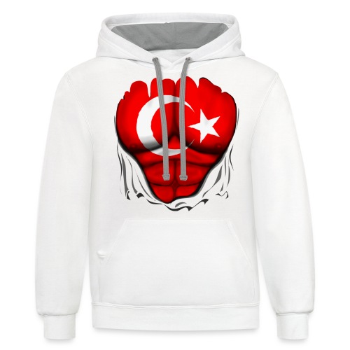 Turkey Flag Ripped Muscles, six pack, chest t-shirt - Contrast Hoodie