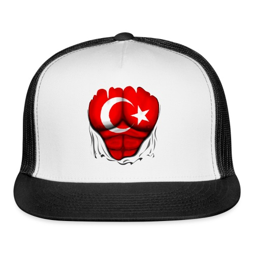 Turkey Flag Ripped Muscles, six pack, chest t-shirt - Trucker Cap