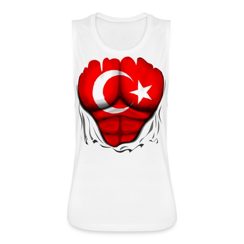 Turkey Flag Ripped Muscles, six pack, chest t-shirt - Women's Flowy Muscle Tank by Bella