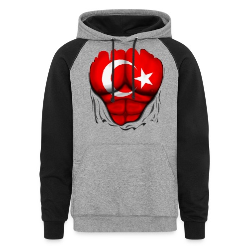 Turkey Flag Ripped Muscles, six pack, chest t-shirt - Colorblock Hoodie