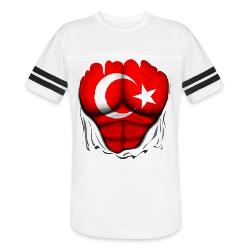 Turkey Flag Ripped Muscles, six pack, chest t-shirt - Vintage Sport T-Shirt