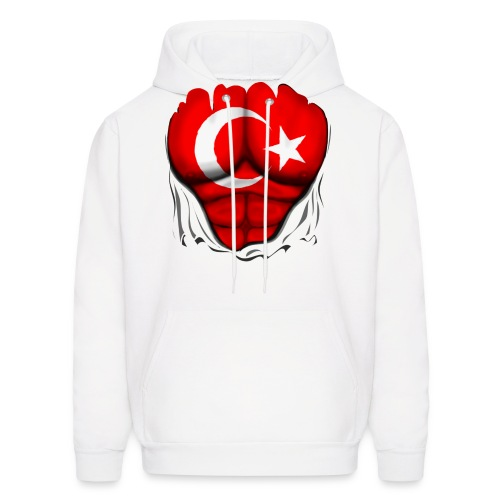 Turkey Flag Ripped Muscles, six pack, chest t-shirt - Men's Hoodie
