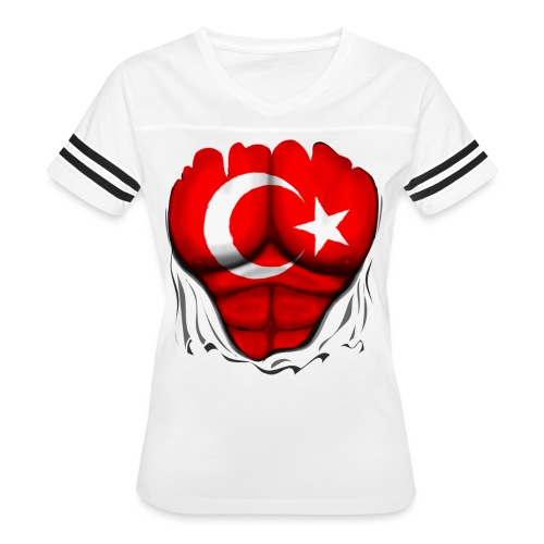 Turkey Flag Ripped Muscles, six pack, chest t-shirt - Women's Vintage Sport T-Shirt