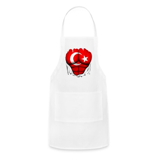 Turkey Flag Ripped Muscles, six pack, chest t-shirt - Adjustable Apron
