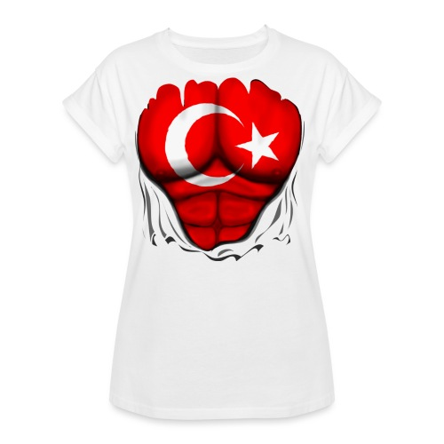 Turkey Flag Ripped Muscles, six pack, chest t-shirt - Women's Relaxed Fit T-Shirt