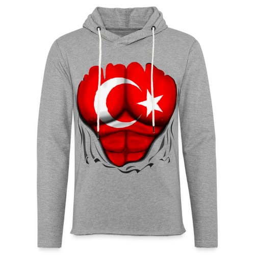 Turkey Flag Ripped Muscles, six pack, chest t-shirt - Unisex Lightweight Terry Hoodie