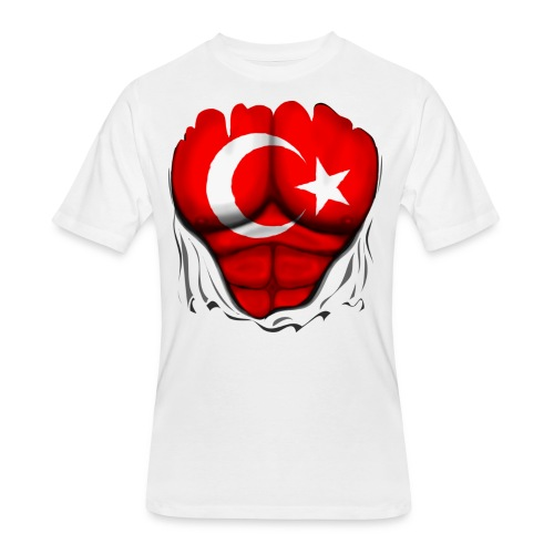 Turkey Flag Ripped Muscles, six pack, chest t-shirt - Men's 50/50 T-Shirt