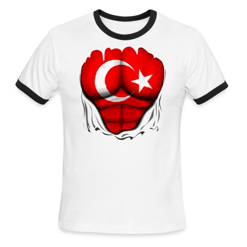 Turkey Flag Ripped Muscles, six pack, chest t-shirt - Men's Ringer T-Shirt