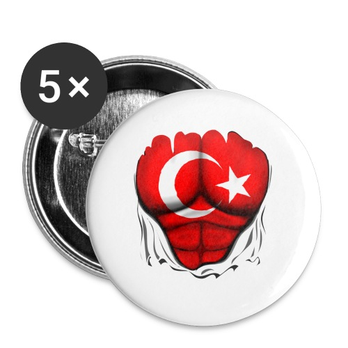 Turkey Flag Ripped Muscles, six pack, chest t-shirt - Buttons large 2.2'' (5-pack)