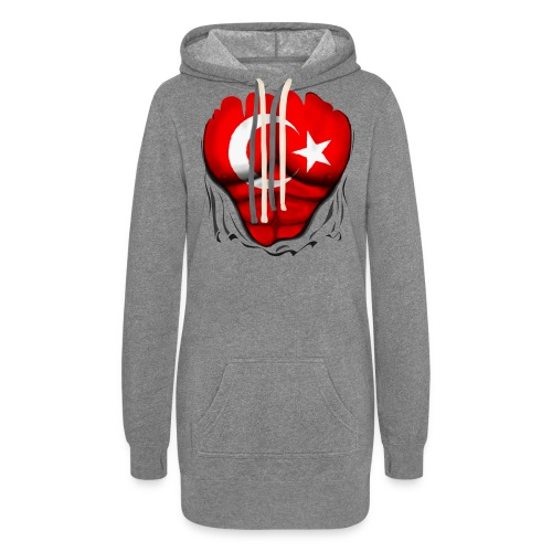 Turkey Flag Ripped Muscles, six pack, chest t-shirt - Women's Hoodie Dress