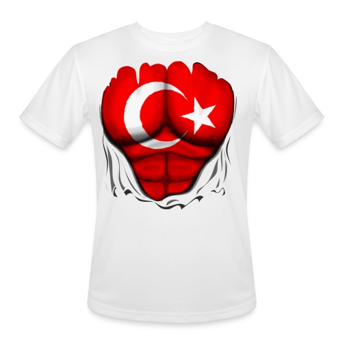 Turkey Flag Ripped Muscles, six pack, chest t-shirt - Men's Moisture Wicking Performance T-Shirt