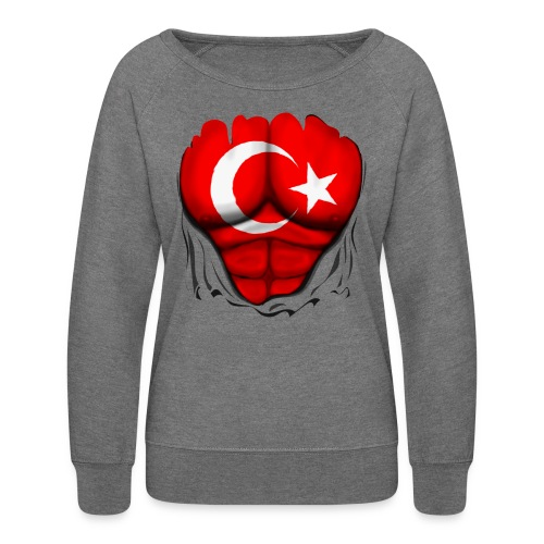 Turkey Flag Ripped Muscles, six pack, chest t-shirt - Women's Crewneck Sweatshirt