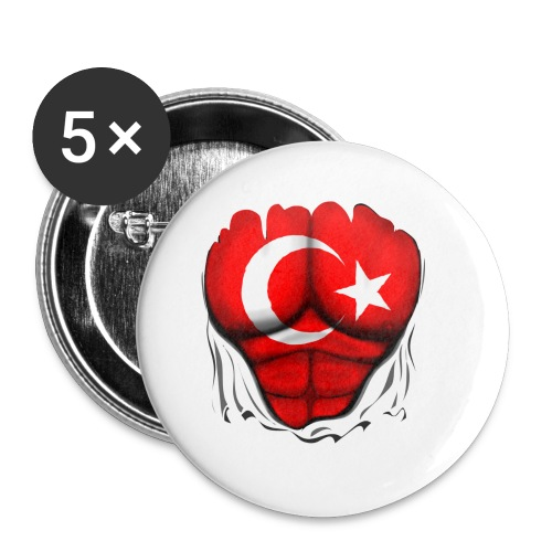 Turkey Flag Ripped Muscles, six pack, chest t-shirt - Buttons small 1'' (5-pack)