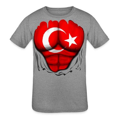 Turkey Flag Ripped Muscles, six pack, chest t-shirt - Kids' Tri-Blend T-Shirt