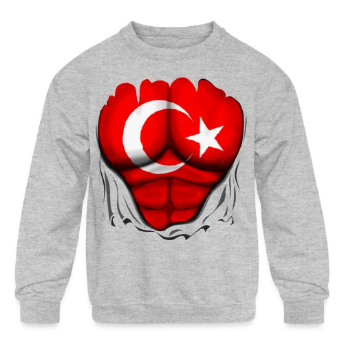 Turkey Flag Ripped Muscles, six pack, chest t-shirt - Kids' Crewneck Sweatshirt