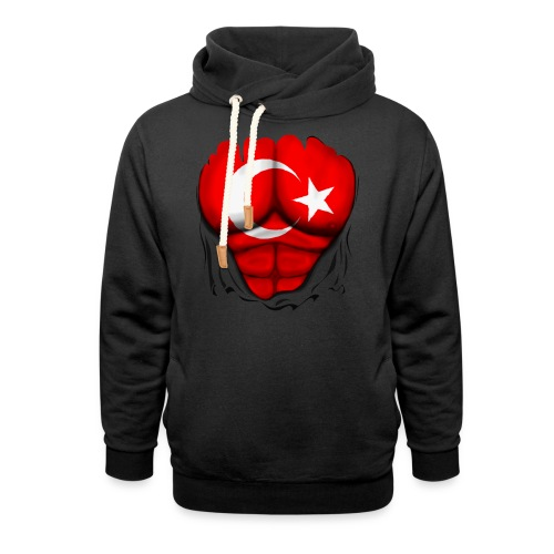 Turkey Flag Ripped Muscles, six pack, chest t-shirt - Shawl Collar Hoodie