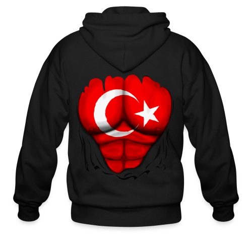 Turkey Flag Ripped Muscles, six pack, chest t-shirt - Men's Zip Hoodie