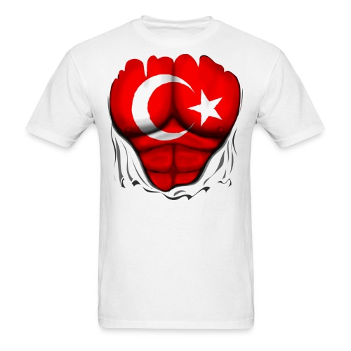 Turkey Flag Ripped Muscles, six pack, chest t-shirt - Men's T-Shirt