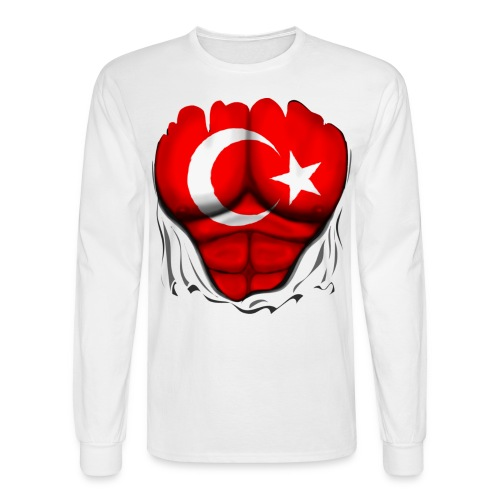 Turkey Flag Ripped Muscles, six pack, chest t-shirt - Men's Long Sleeve T-Shirt