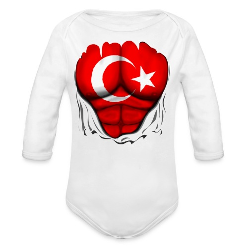 Turkey Flag Ripped Muscles, six pack, chest t-shirt - Organic Long Sleeve Baby Bodysuit